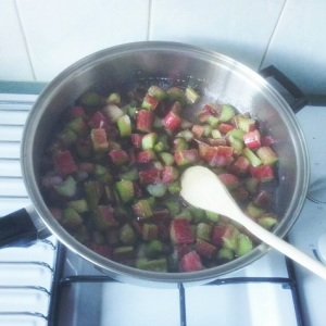 Rhubarb and Sugar in the Pot